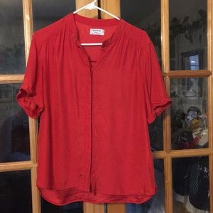 Red frame silk button down shirt